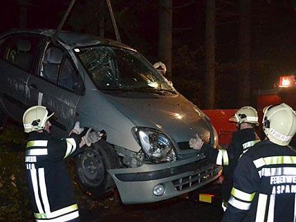Der Unfall-Pkw musste bei Aspang von der Feuerwehr geborgen werden