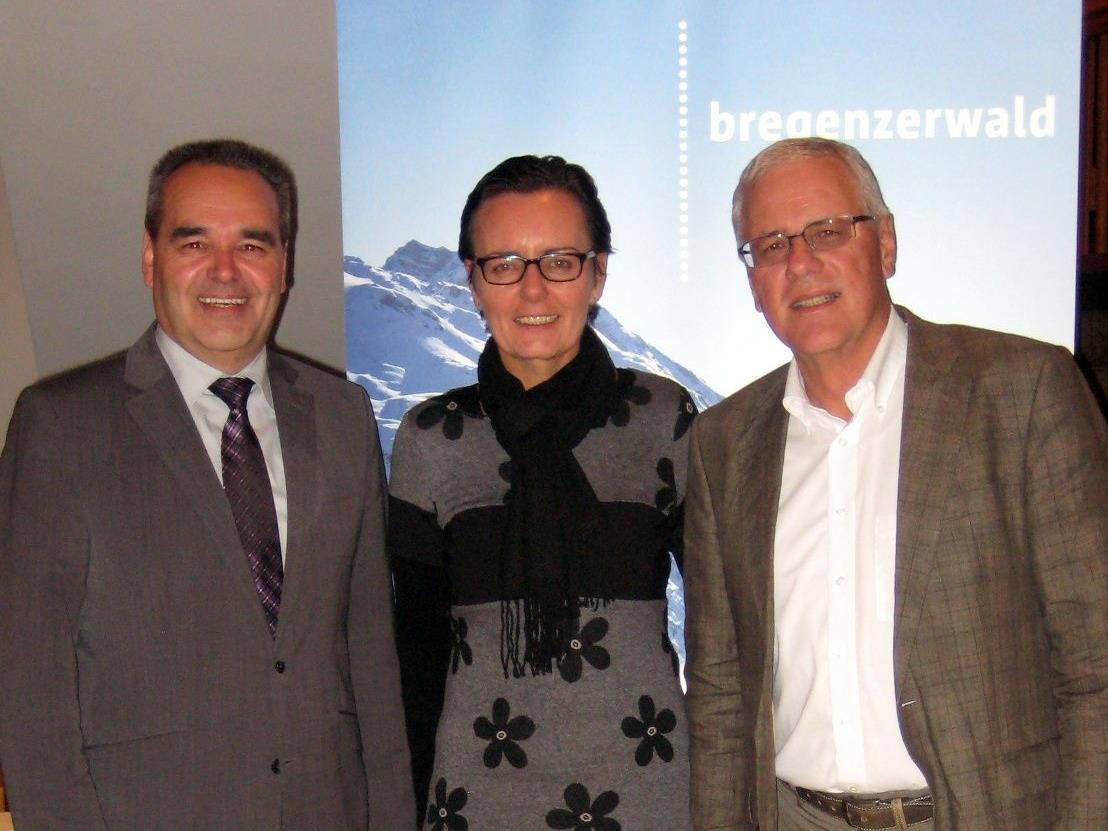 Helmut Blank (Obmann Tourismusverband Bregenzerwald), Herlinde Moosbrugger (Geschäftsführerin Bregenzerwald Tourismus GmbH), Wolfgang Beck (Geschäftsführer 3-Täler Touristik GmbH)