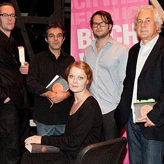 Stargäste bei der Eröffnung der Buch Wien 11: Marcus Kiepe, Navid Kermani, Christiane von Poelnitz, Philipp Hauß und Franz Kössler