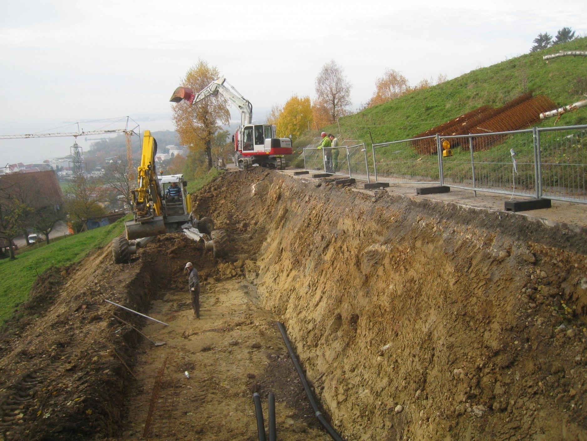 Die Sanierung der Pfänderstraße im Bereich Kaufmann geht zügig voran.