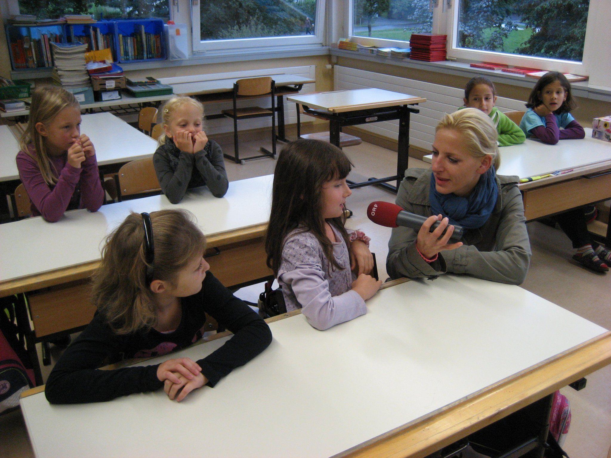 Zum Start der Mobilwoche wurden einzelne Kinder von Radio Vorarlberg interviewt