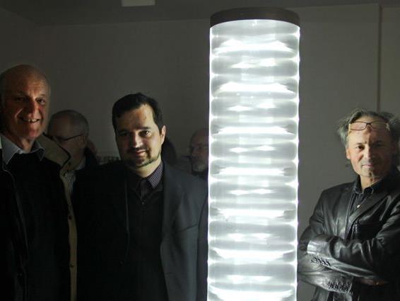 Künstler Hermann Präg, Vernissageredner Mag. phil. Wolfgang Ölz , Galerist Marxx Bosch