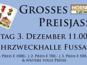 Preisjassen am Samstag, 3.12 in der Mehrzweckhalle in Fussach.