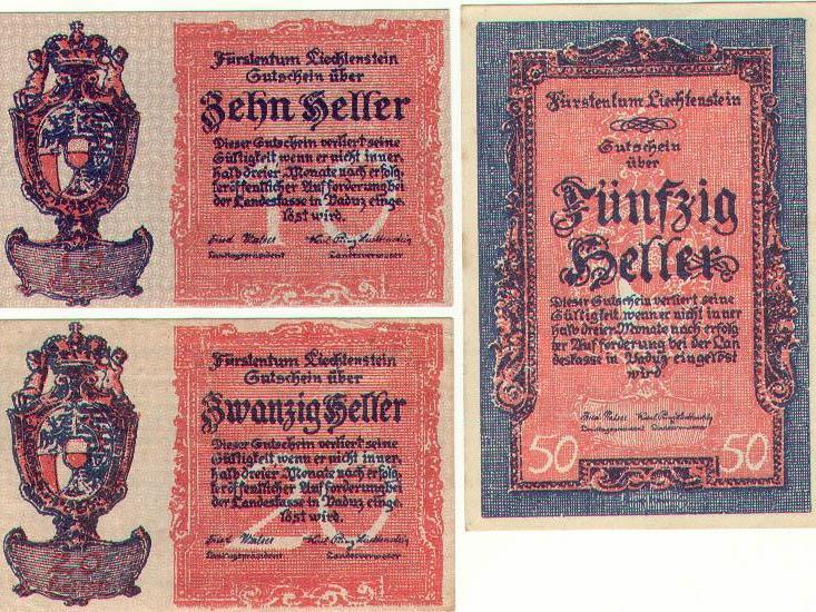 Liechtensteiner Notgeld, die einzigen Banknoten die Liechtenstein drucken ließ