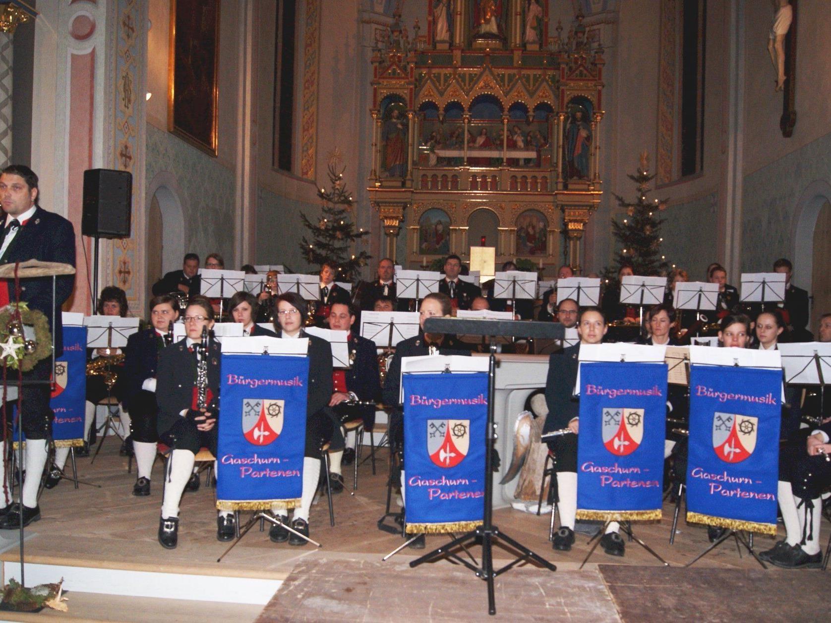 Konzert der Bürgermusik Gaschurn-Partenen in der Pfarrkirche.