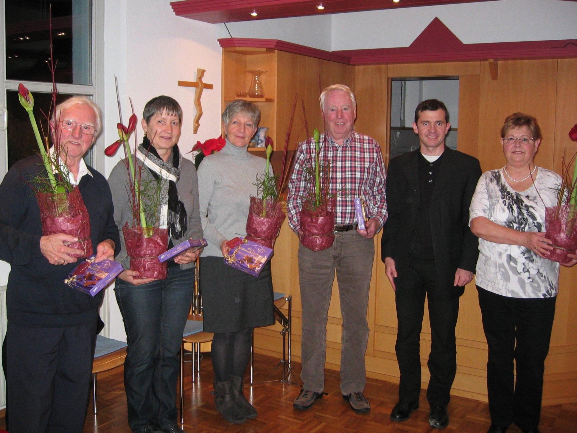 v.l.n.r.Burli Baumgartner, Klara Koch, Elisabeth Breuß, Walter Rohrer, Martin Summer, Margit Senoner