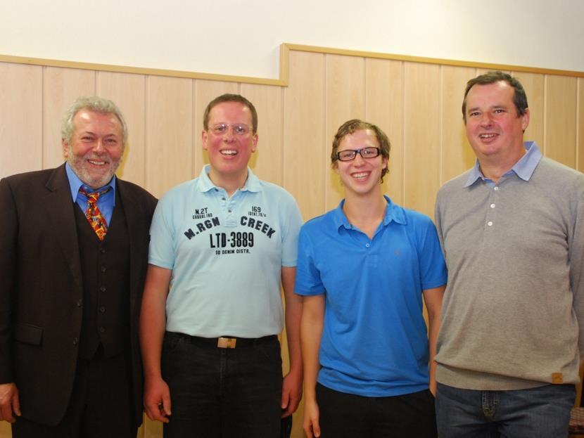 Karl Schedler, Martin Nesler, sowie Simon Gassner mit Albert Kegele.