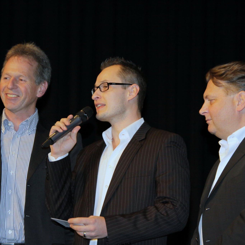 Bürgermeister Richard Amann und Sportstadtrat Friedl Dold im Gespräch mit Moderator Mike Metelko.