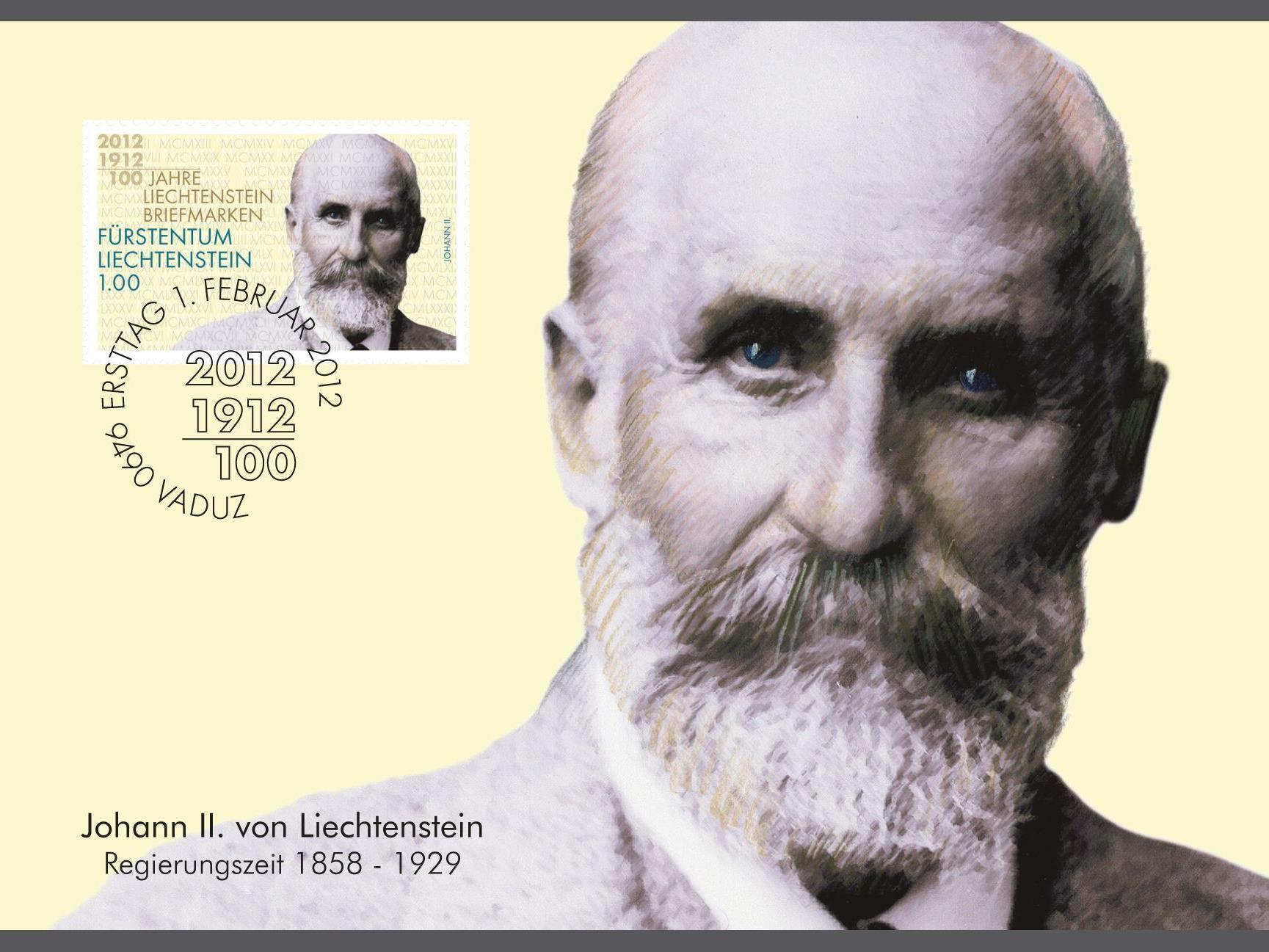 Fürst Johann II von und zu Liechtenstein ziert eine der vier Sondermarken zum Briefmarkenjubiläum