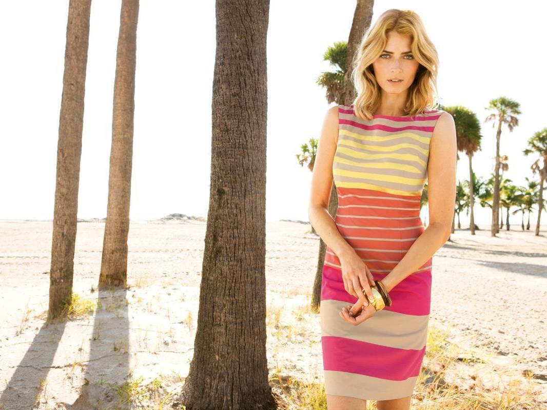 Das deutsche Topmodel Eva Padberg für die neue Betty Barclay-Kampagne vor der Kamera
