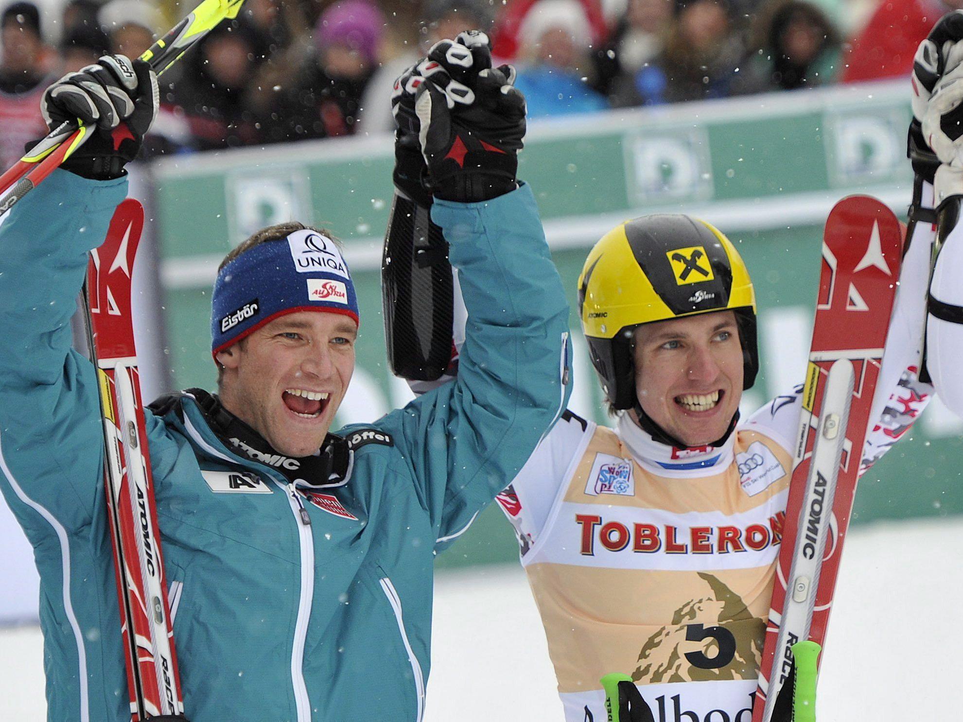 Benjamin Raich und Marcel Hirscher wollen in Adelboden jubeln.
