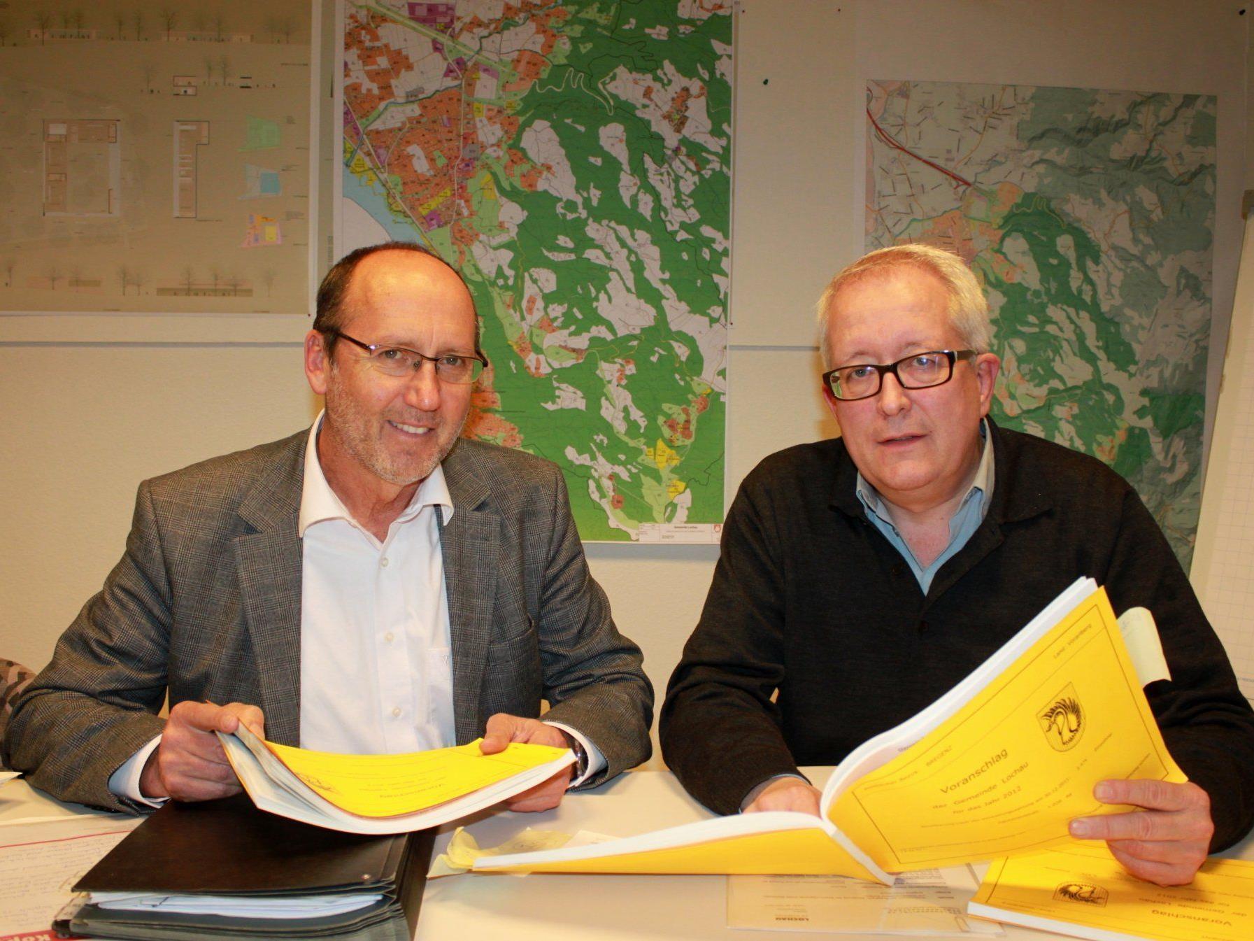 Bürgermeister Xaver Sinz und Finanzreferent Vize-Bgm. Michael Simma präsentierten das Budget 2012.