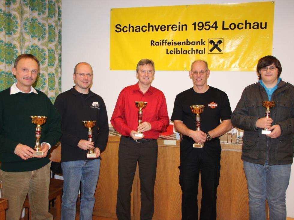 Harald Schulze, Holger Lassahn, Dietmar Heilinger, Peter Mittelberger (Turniersieger), Felix Bahl.