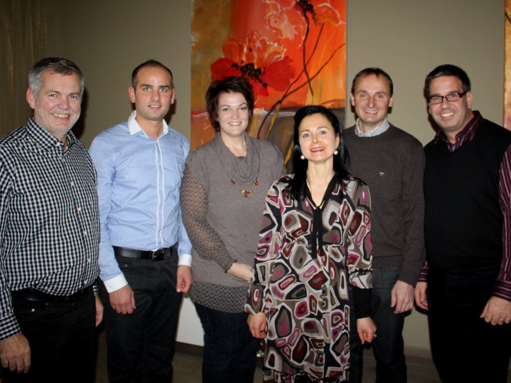 Robert Sturn, Josef Mager, Nadja Natter, Veronika Matt, Alfons Rädler, Alexander Meister, von links.