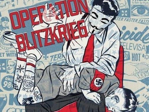 """Die von 'Anonymous' veröffentlichte Illustration der """"Operation Blitzkrieg""""."""