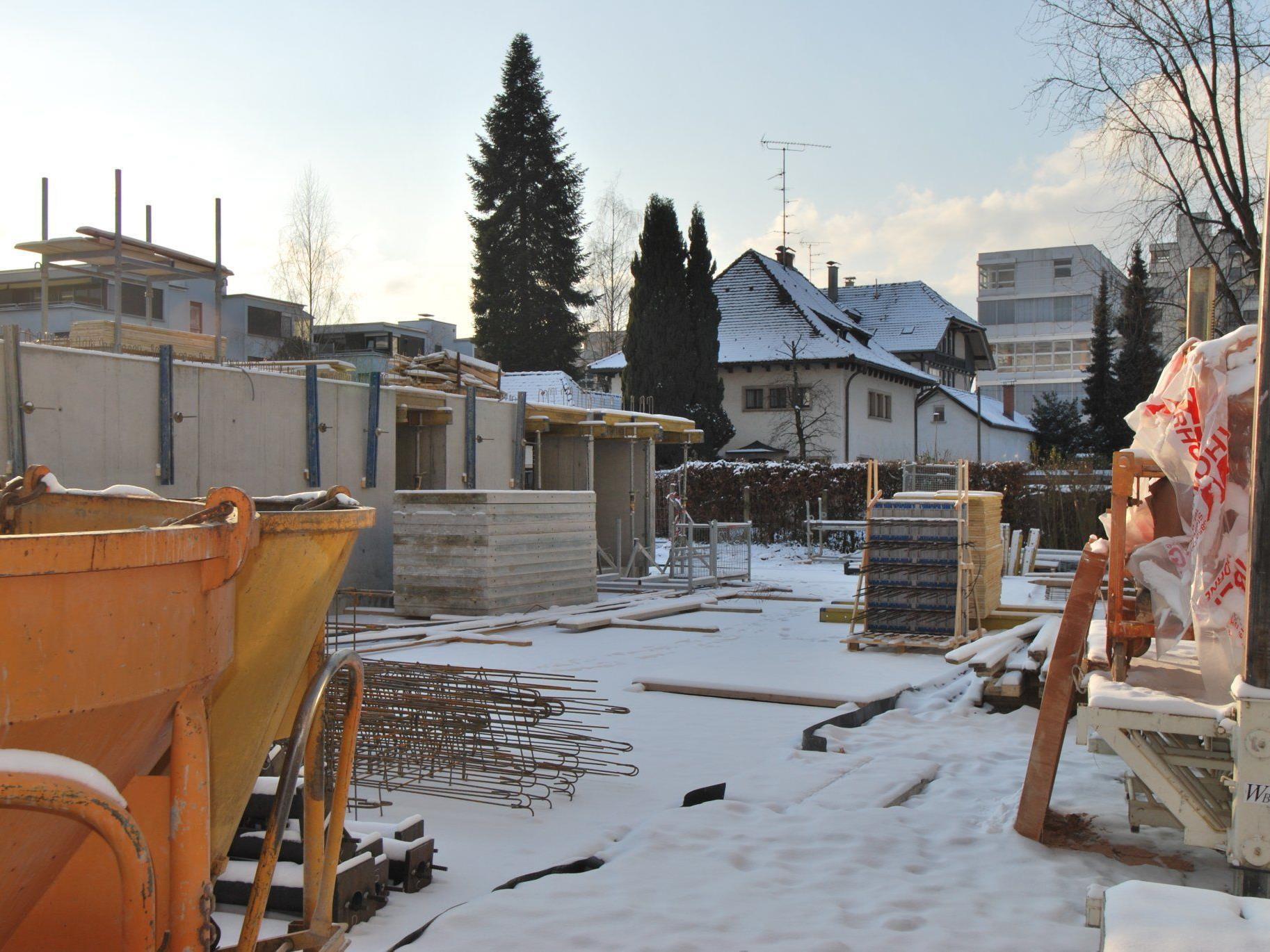 Die Wohnanlage Riedgasse liegt trotz kältebedingtem Baustillstand im Zeitplan