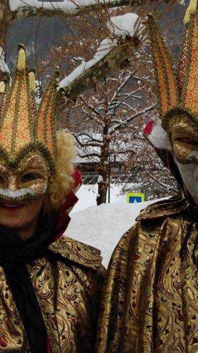 Wunderschöne venezianische Masken gab es beim Kinderfasching in Schruns zu sehen.