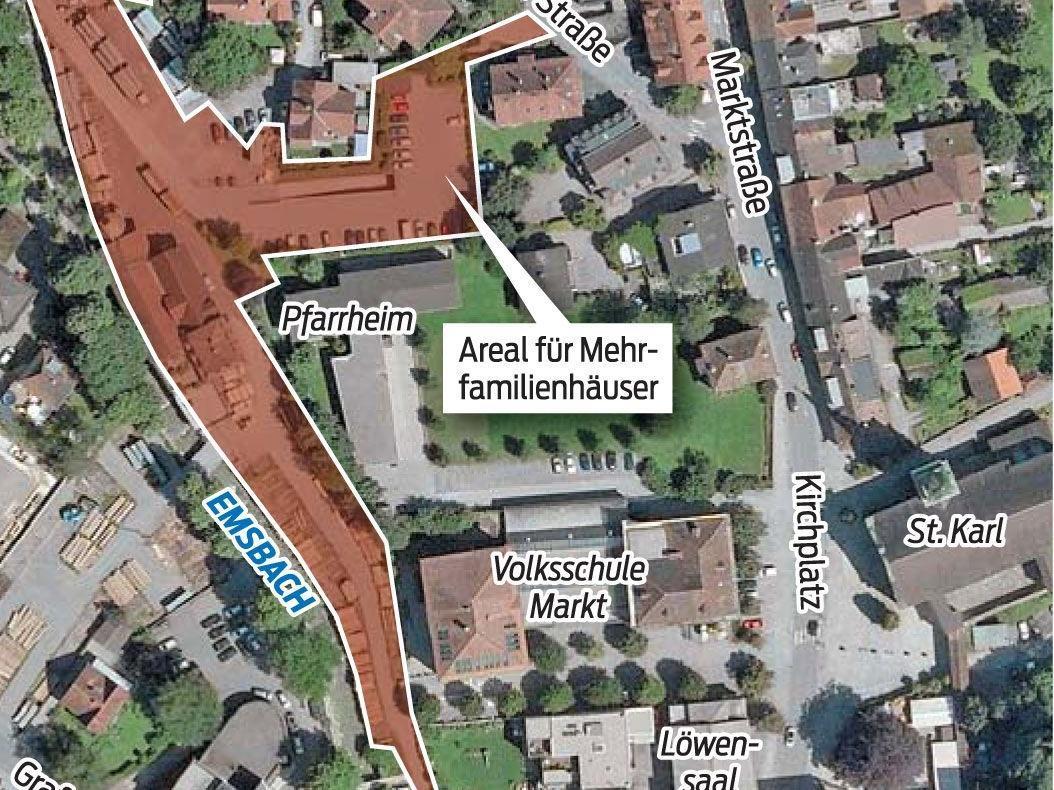 """Verbauung """"Am Emsbach"""": Auf dem Areal im Stadtzentrum sind fünf Mehrfamilienhäuser geplant."""