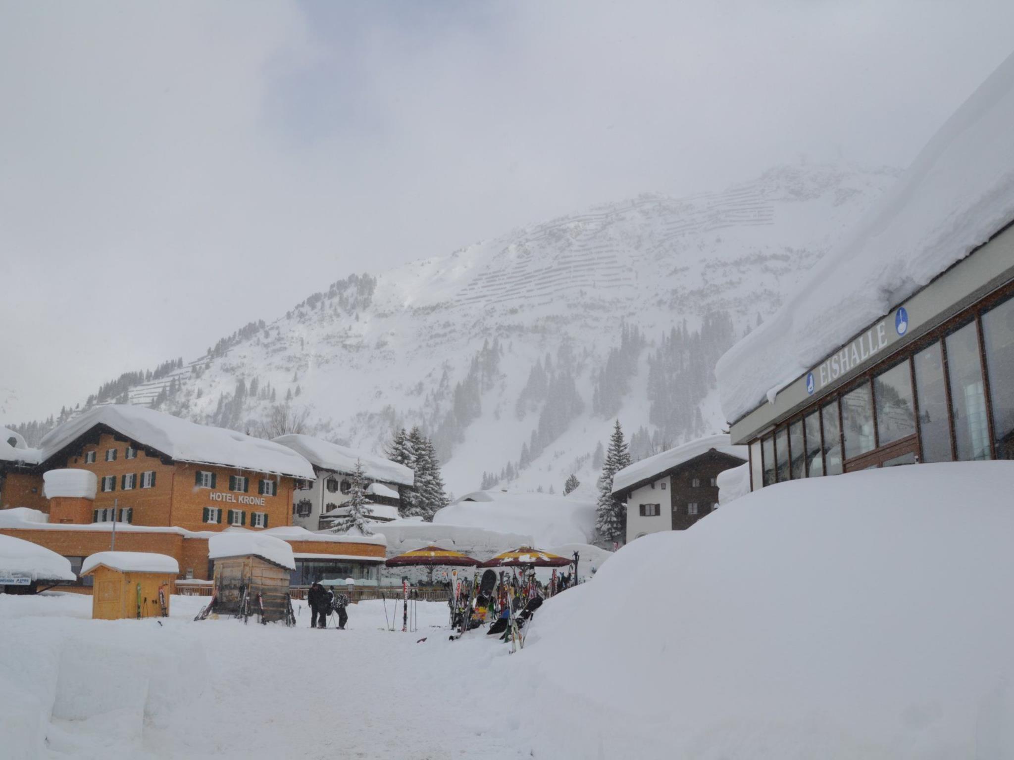 Schneegestöber in Lech.