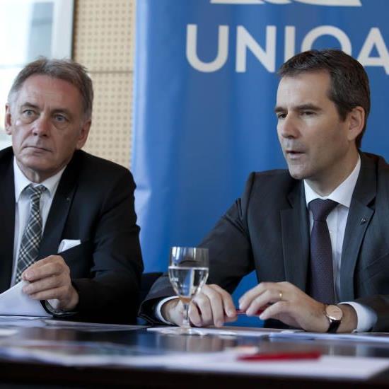 Uniqa-Landesdirektor Bruno Hutter (l.) und der neue Vorstandsvorsitzende der Uniqa Österreich, Hartwig Löger