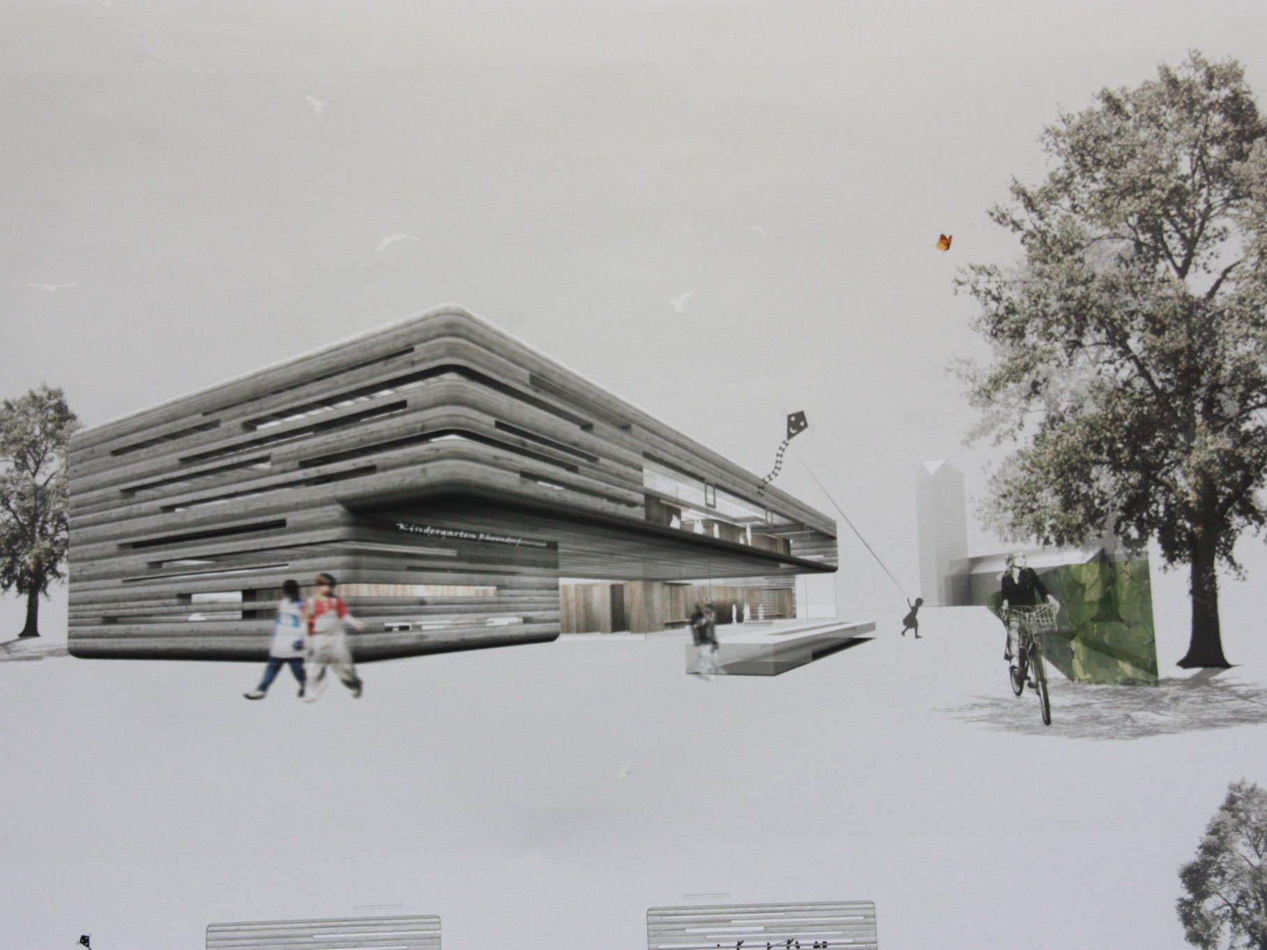 Das Modell des neuen Kindergartens Lustenau-Rheindorf.