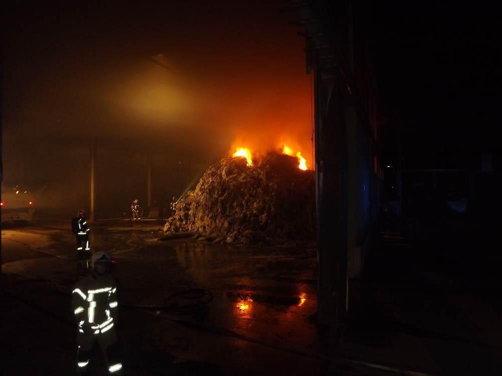 Die Feuerwehr Lustenau beim Löschen des Brandes.