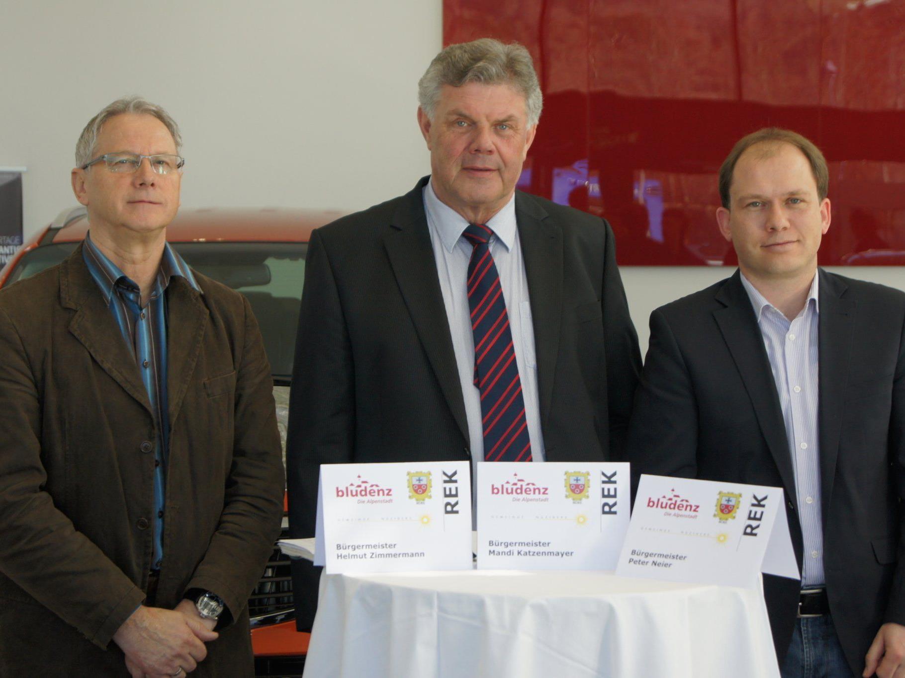 Die drei Bürgermeister aus Bürs, Bludenz und Nüziders planen ein neues Entwicklungskonzept.