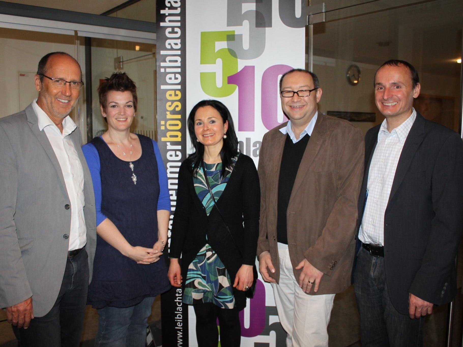 Xaver Sinz, Nadja Natter, Obfrau Unternehmerbörse Veronika Matt, Langes Wolfgang und Alfons Rädler.