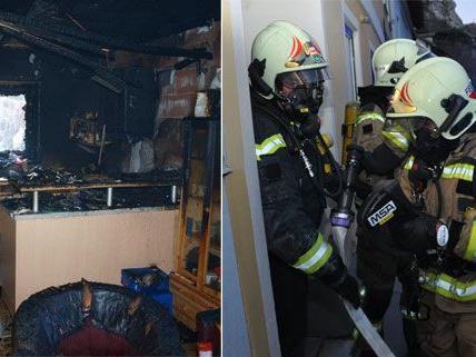 Nachdem es in Zillingdorf in einem Gartenhaus brannte (links), wurde die Feuerwehr Mödling zu einem anderen Küchenbrand gerufen