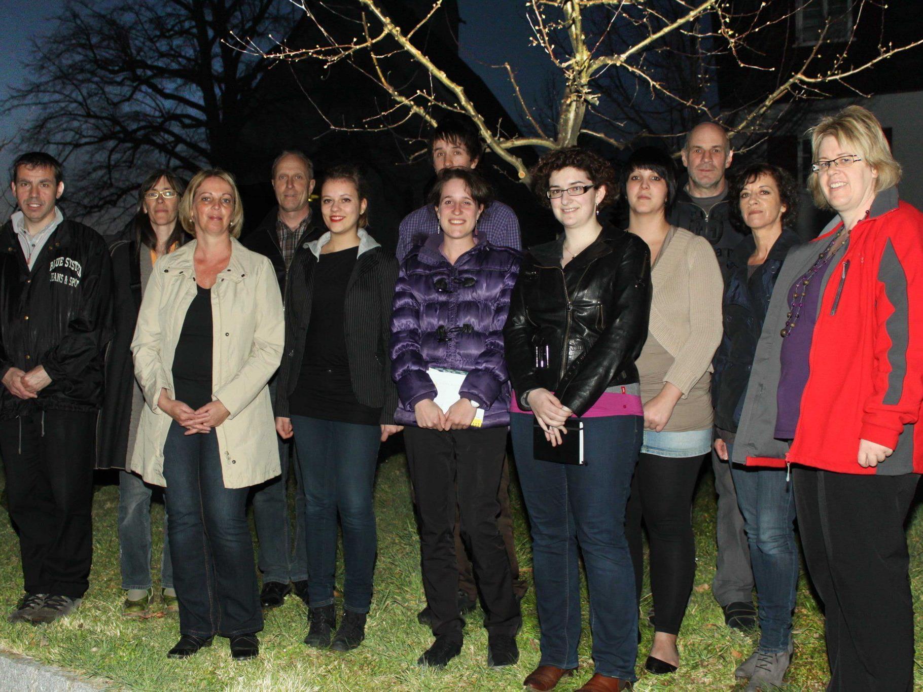 12 PGR-Mitglieder der Pfarre Fraxern 2012 bis 2017.