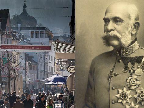 Die Bregenzer Kaiserstraße hat ihren Namen von Kaiser Franz-Josef erhalten.