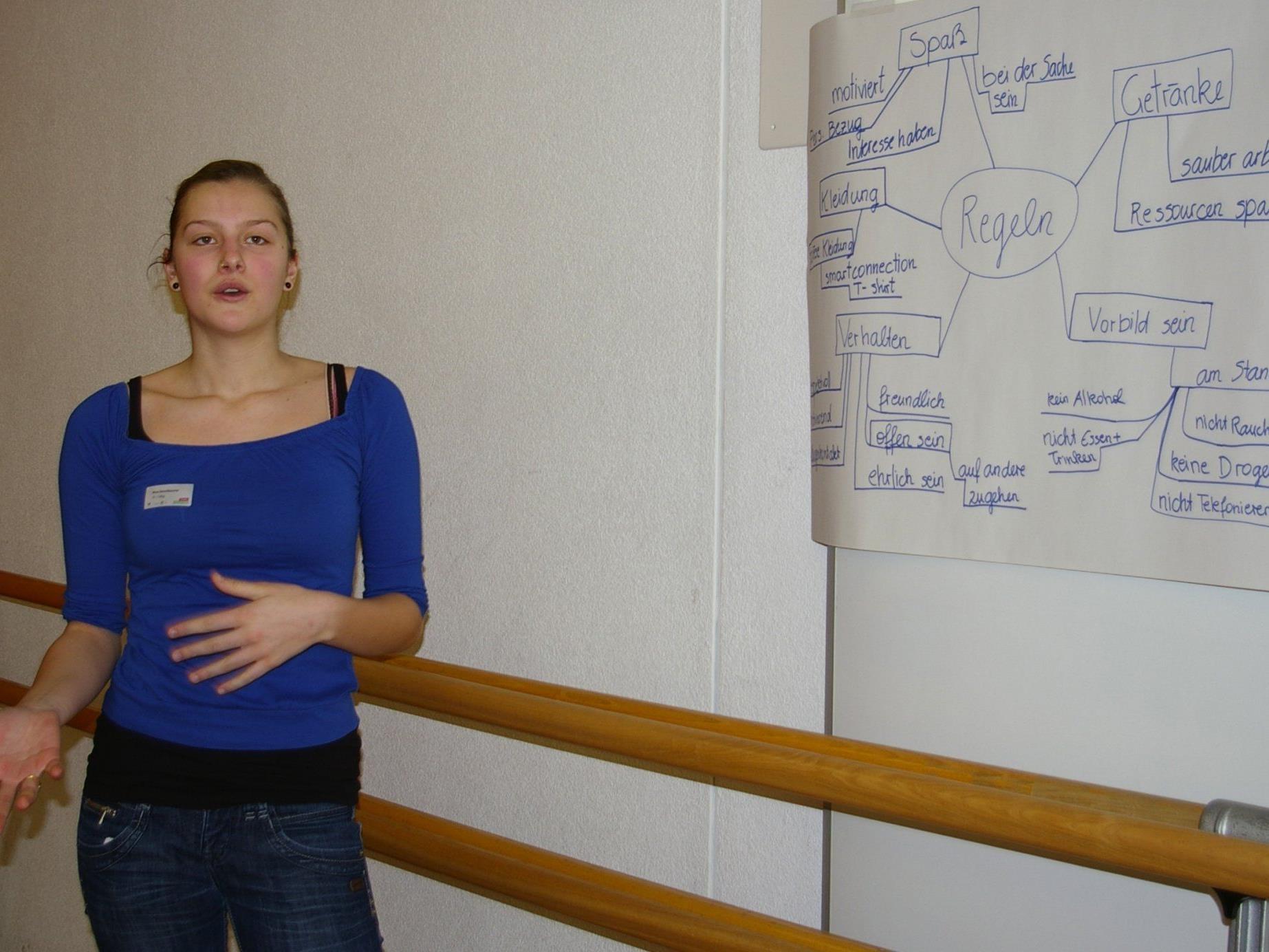 """Nina Kerschbaumer stellt die ierarbeiteten """"smartconnection""""-Regeln vor."""