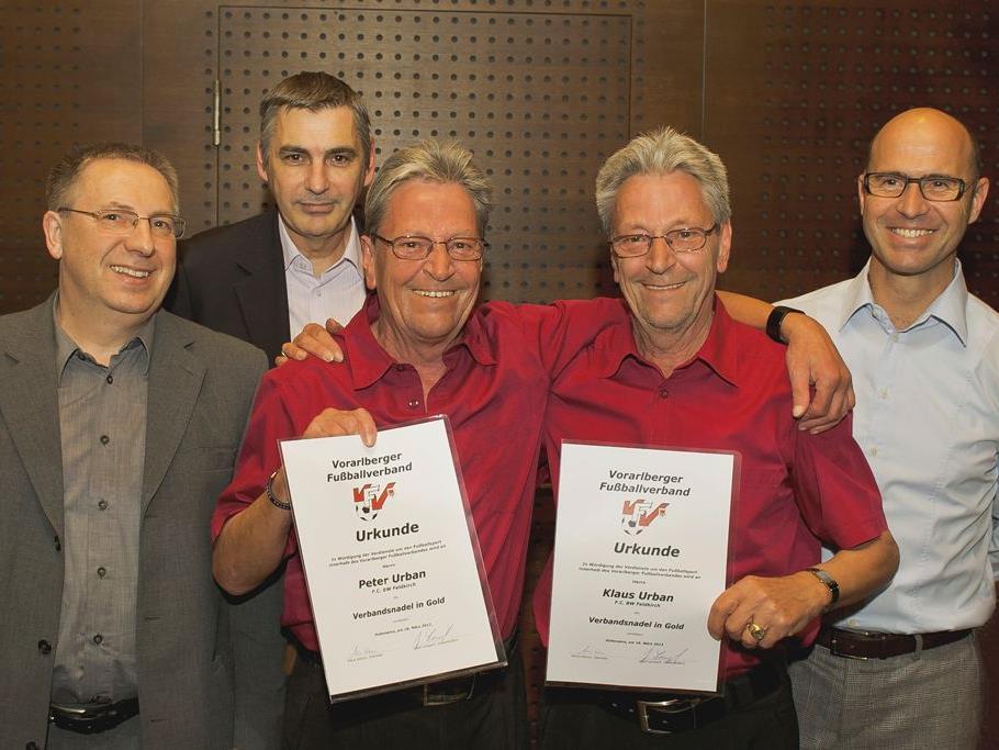Klaus & Peter Urban, Auszeichnung für 47 Jahre Verdienste um den Vorarlberger Fussballsport
