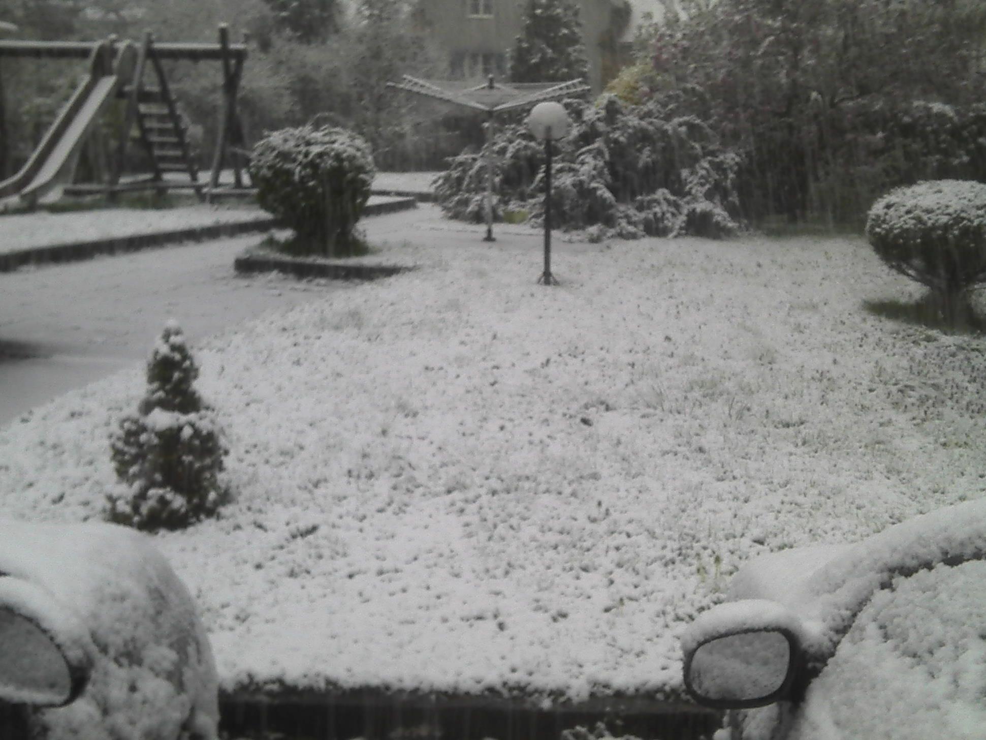 Schnee am Ostersonntag Morgen in Dornbirn.