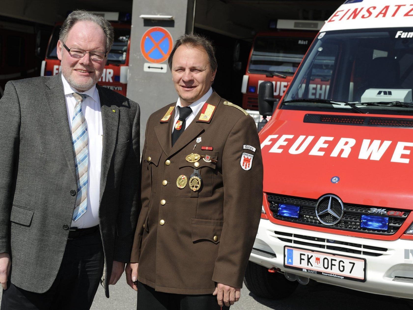 Bürgermeister Werner Huber mit Feuerwehrkommandant Eugen Böckle.