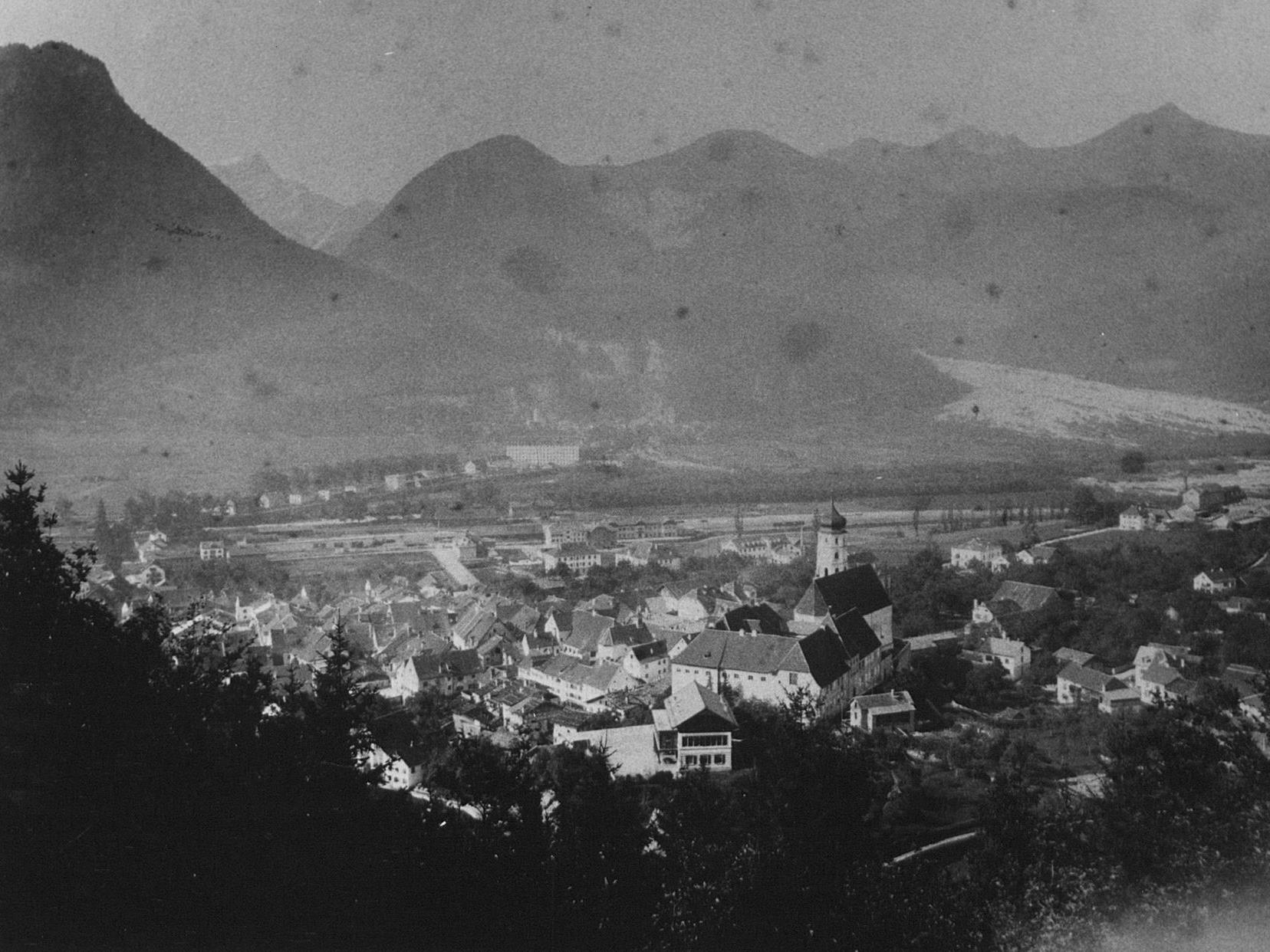 Bludenz um 1900 mit Schesaplana