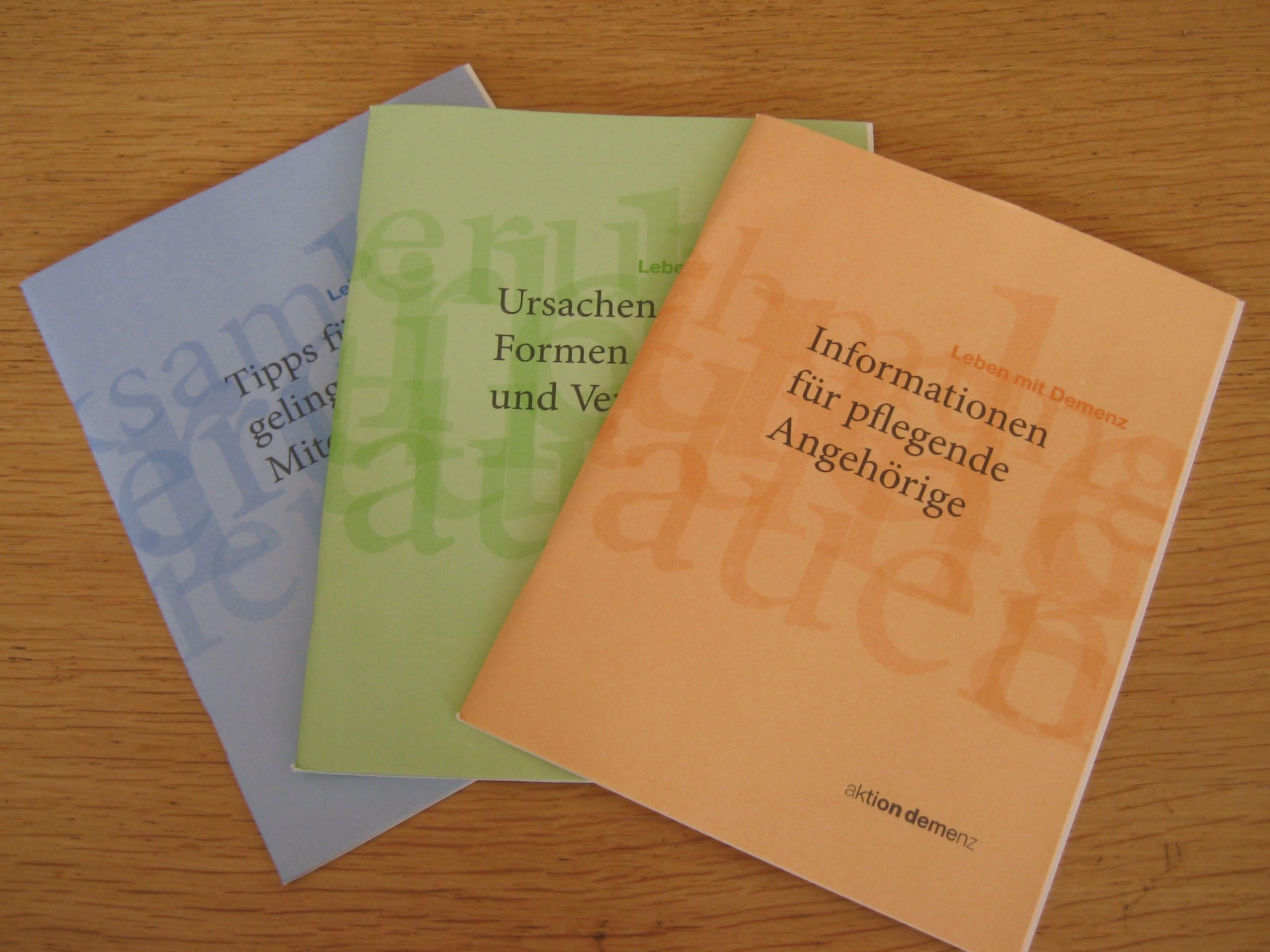 """Die dreiteilige Broschüre des LandesVorarlberg zum Thema """"Leben mit Demenz"""""""