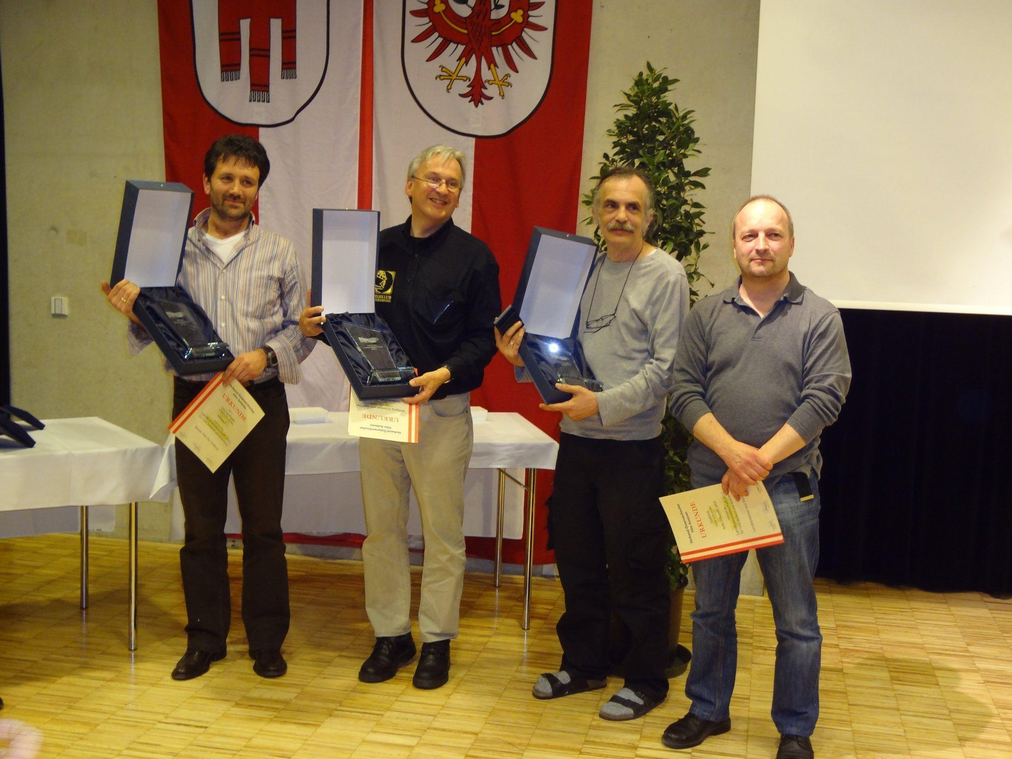 Foto von links: Leo Lanthaler, LM von Südtirol Wolfgang Schwaiger, LM von Tirol Wolfgang Tschallener und Werner Fischer, LM von Vorarlberg