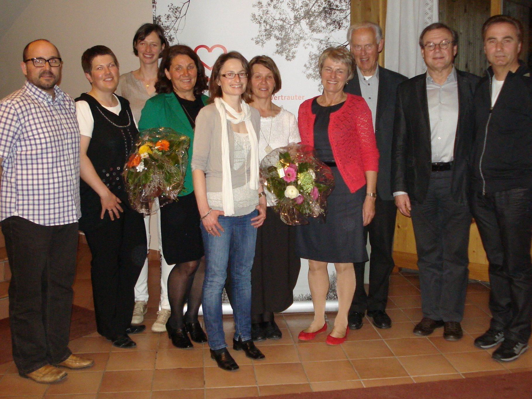 Vorstand des Krankenpflegeverein Bizau mit Ing.Franz Fischer und Herbert Schwendinger.
