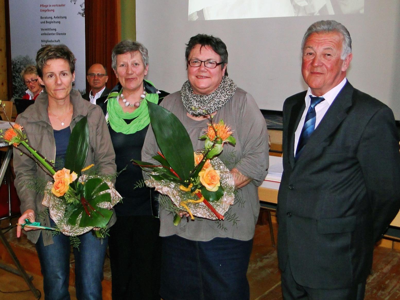 Schwester Ingrid Österle, Inge Fink, Schwester Maria Heim und Obmann Armin Heim