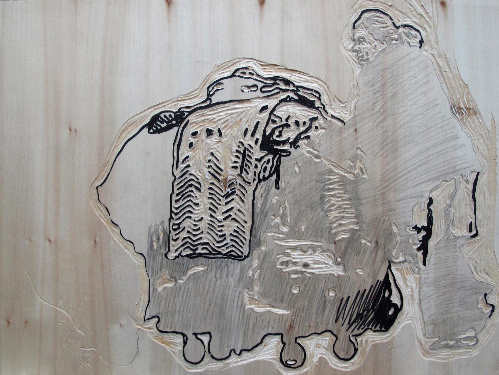 """Holzschnitt von Hans Weigand aus der Serie """"Go West Nr 3"""""""