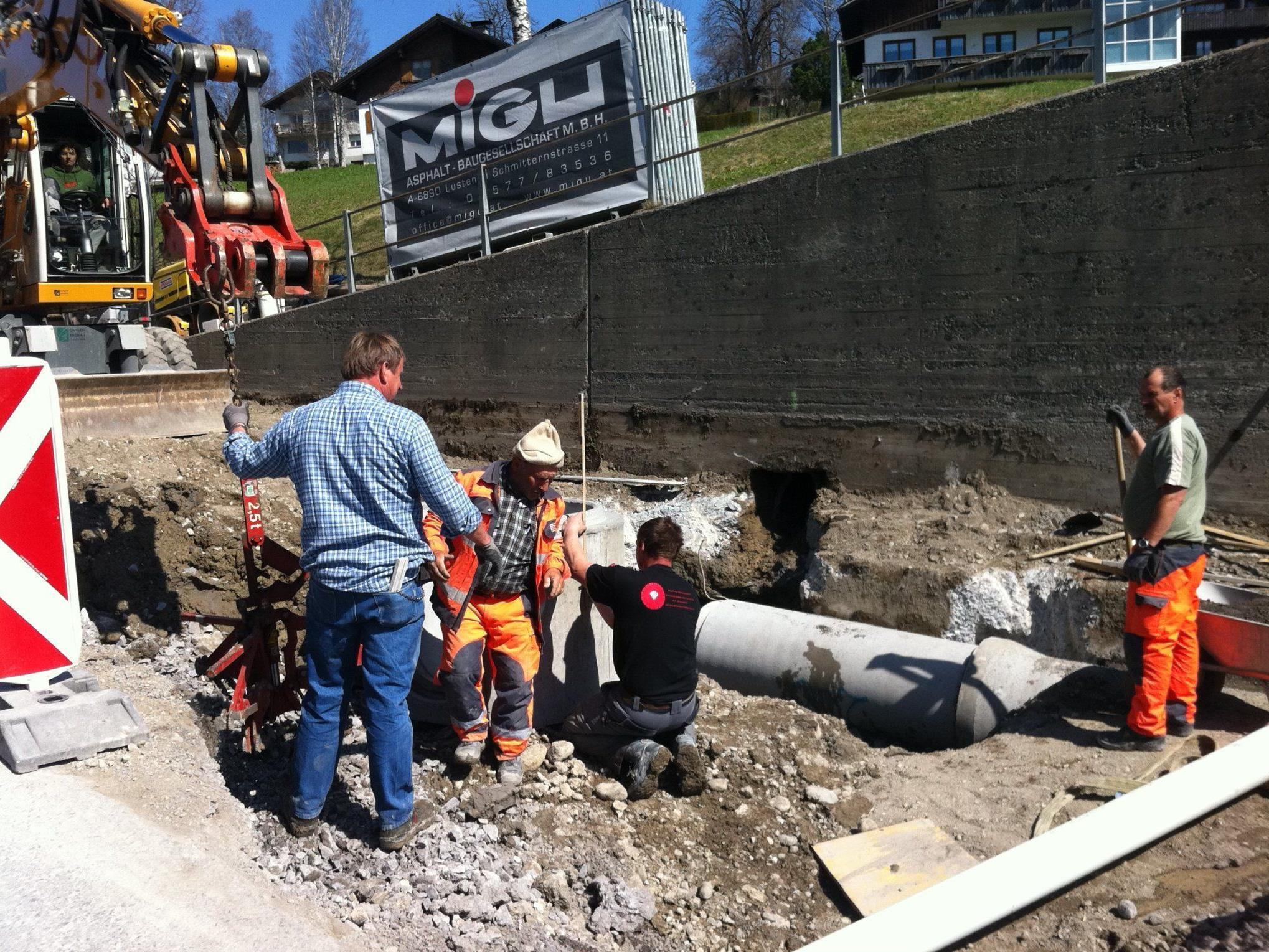 Kanalarbeiten im Ortszentrum