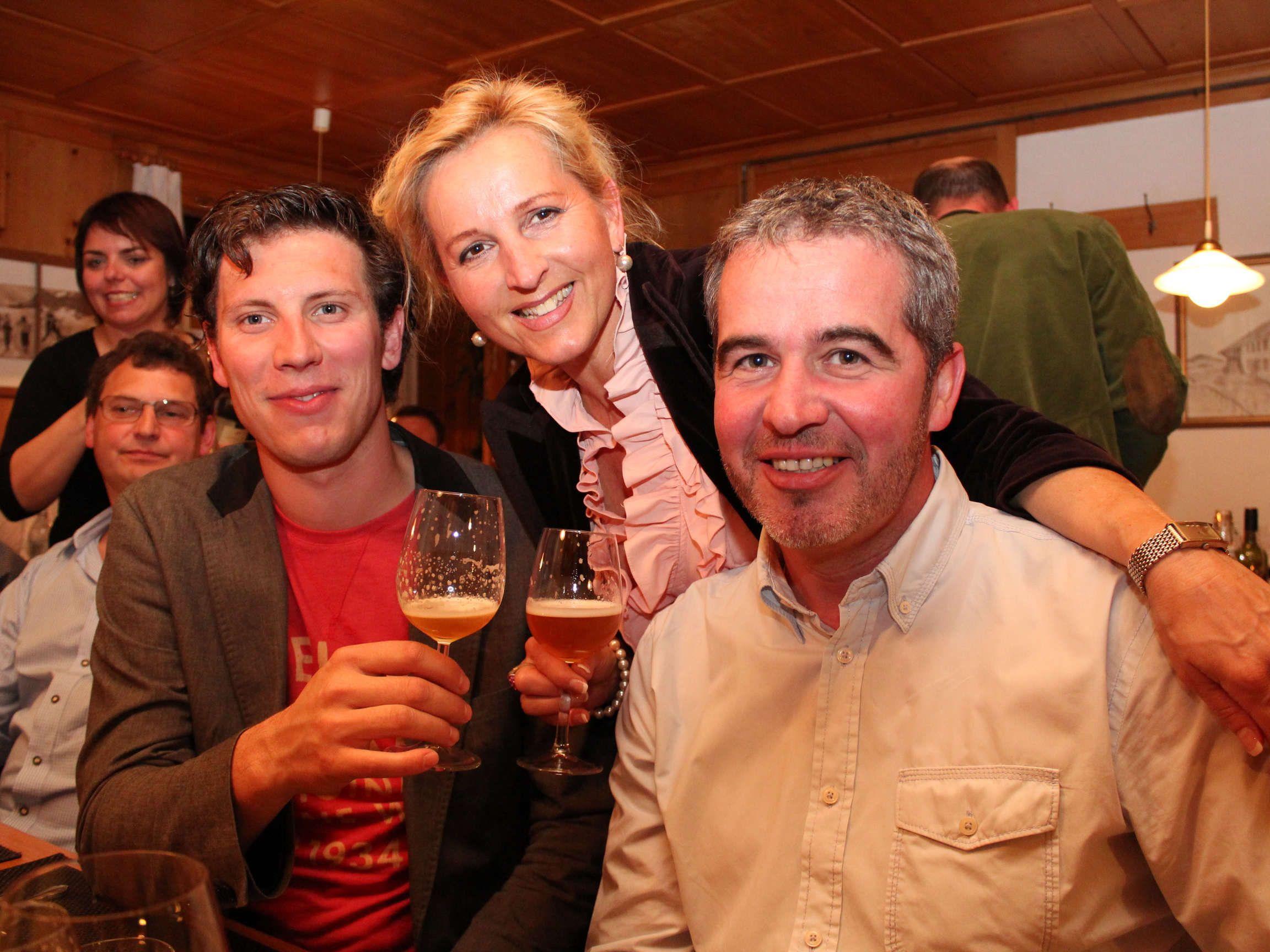Winzer Thomas Lehner, Anita Madlener und Erwin Nußbaumer.