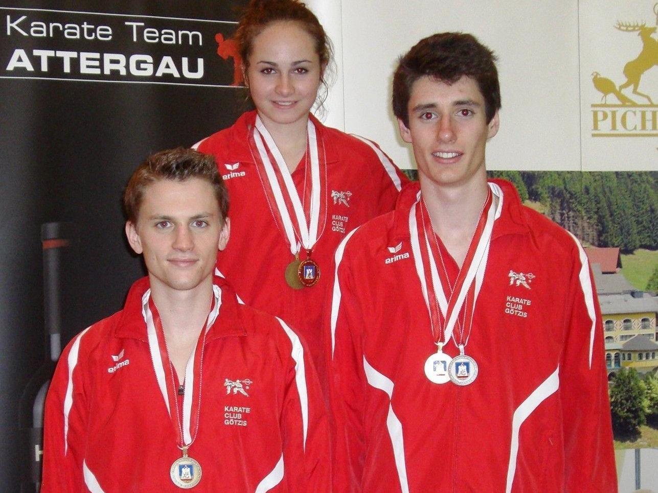 Die Medaillengewinner v.l. Jan Fleisch, Rebecca Rieder, Tobias Muther