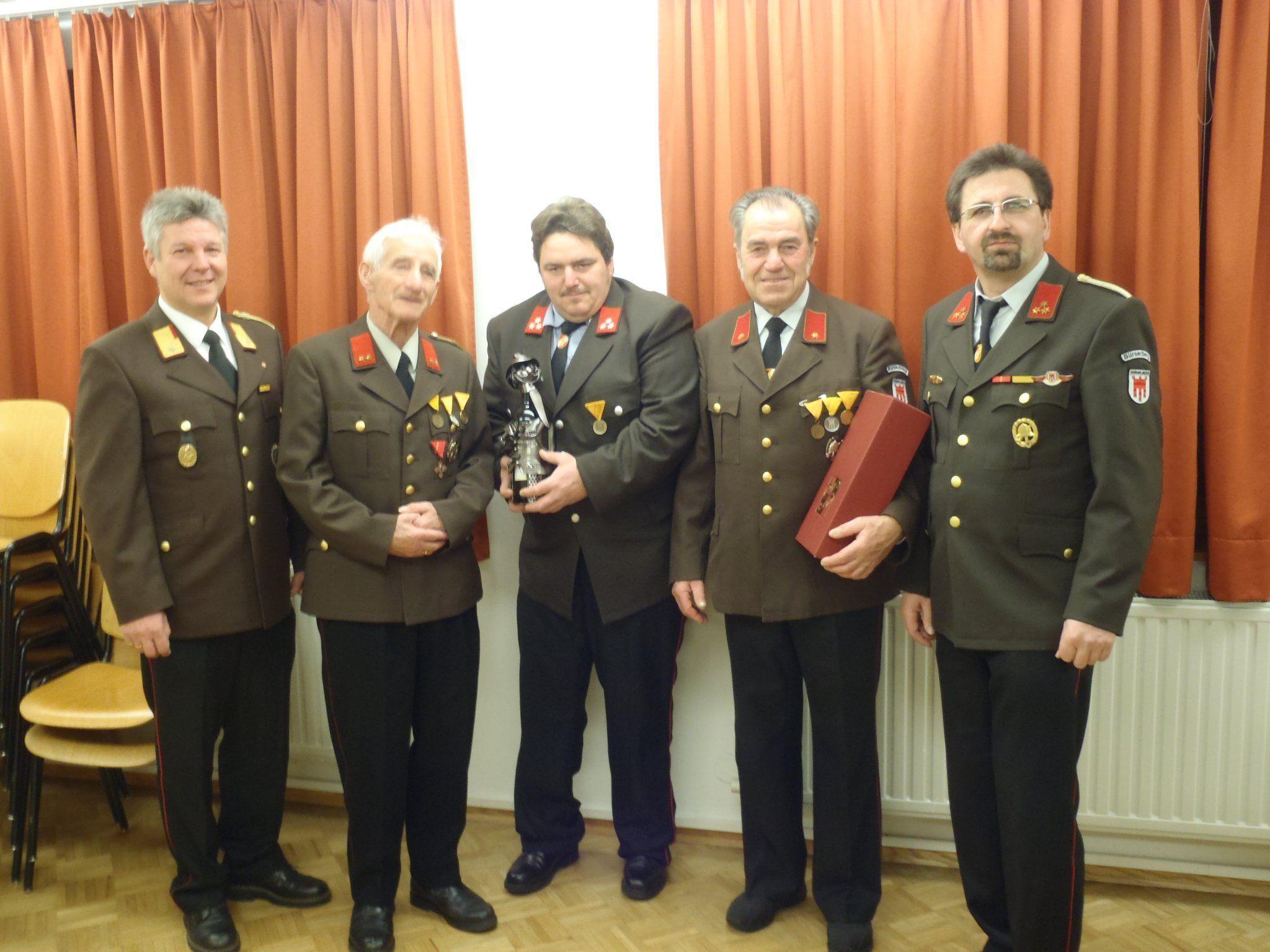 AFK Oberhauser, Ehrenkommandant Schallert, Neier Michae (25 Jahre)l, Neier Ernst, Kdt. Wehinger