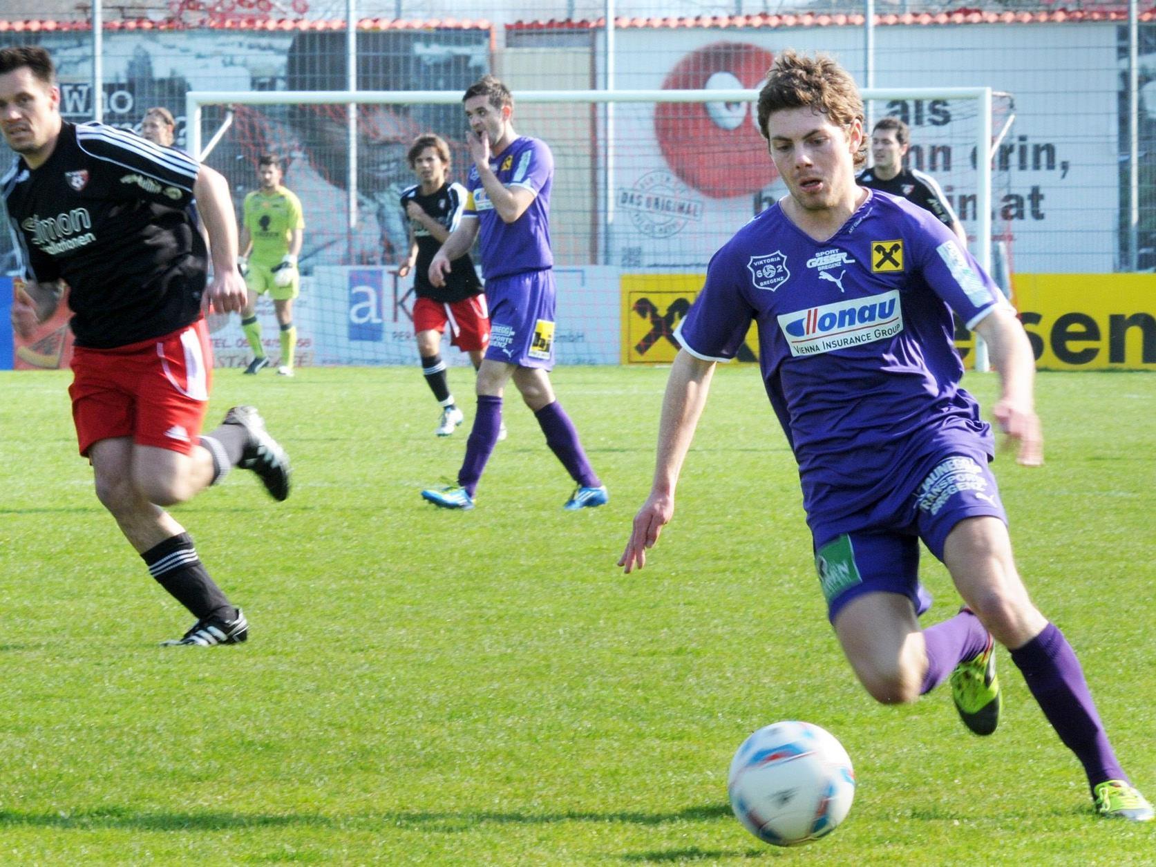 Elia Kloser glich beim Spiel in Meiningen in Minute 61 zum 2:2 für den FC Viktoria Bregenz aus.