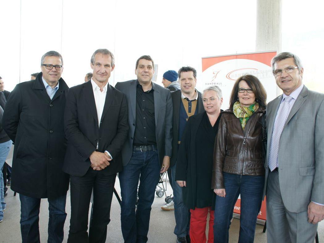 R. Frühstück, Bgm. Linhart, Bgm. Köhlmeier, H. Füssinger, W. Faigle, Vzbgm. Mair und LR Sigi Stemer.
