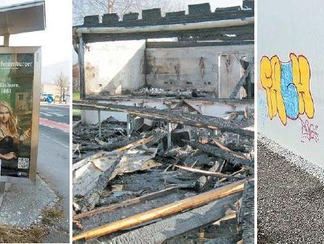 Jugendlicher Vandalismus in Vorarlberg 2012: Eingeschlagene Scheiben, Brandstiftungen und Graffiti-Sprühereien.