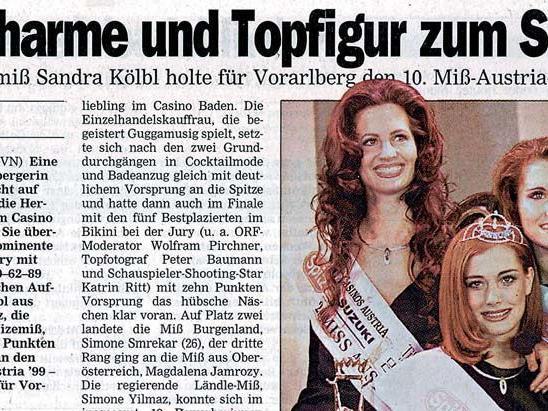 Im März 1999 holte sich die damals 20-jährige Sandra Kölbl den Titel der Miss Austria.