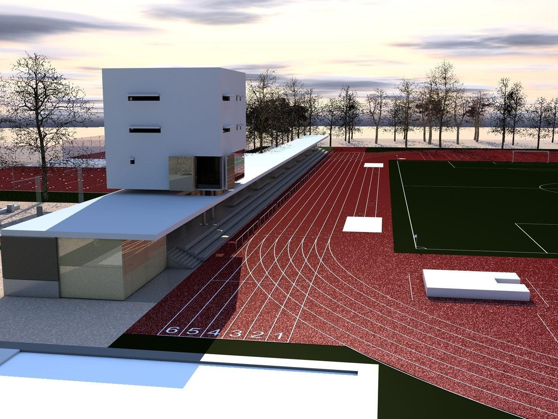 So soll die neue Leichtathletikanlage laut Modell aussehen.